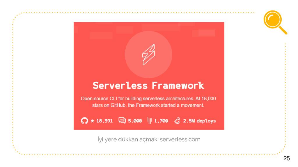25 İyi yere dükkan açmak: serverless.com