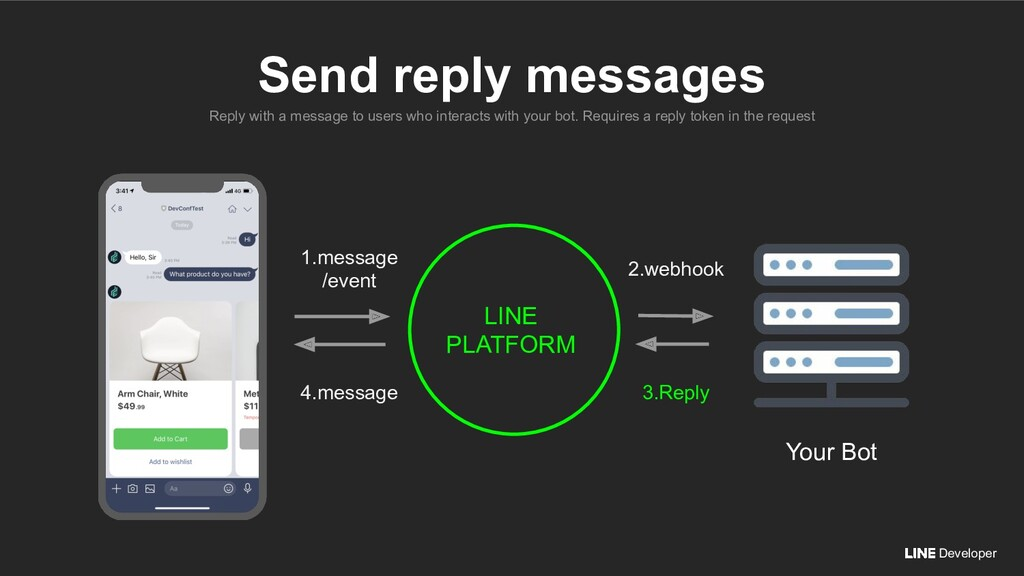 Developer Reply with a message to users who int...