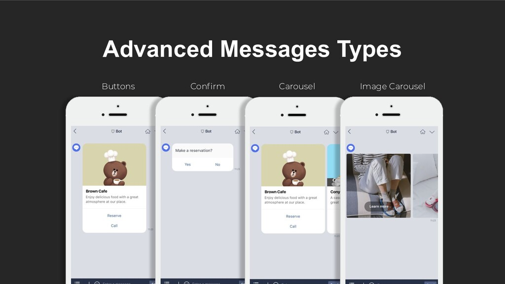 Advanced Messages Types Buttons Confirm Carousel...