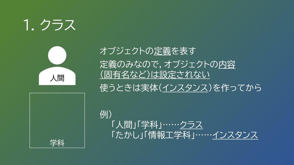 1. クラス オブジェクトの定義を表す 定義のみなので,オブジェクトの内容 (固有名など)は設...