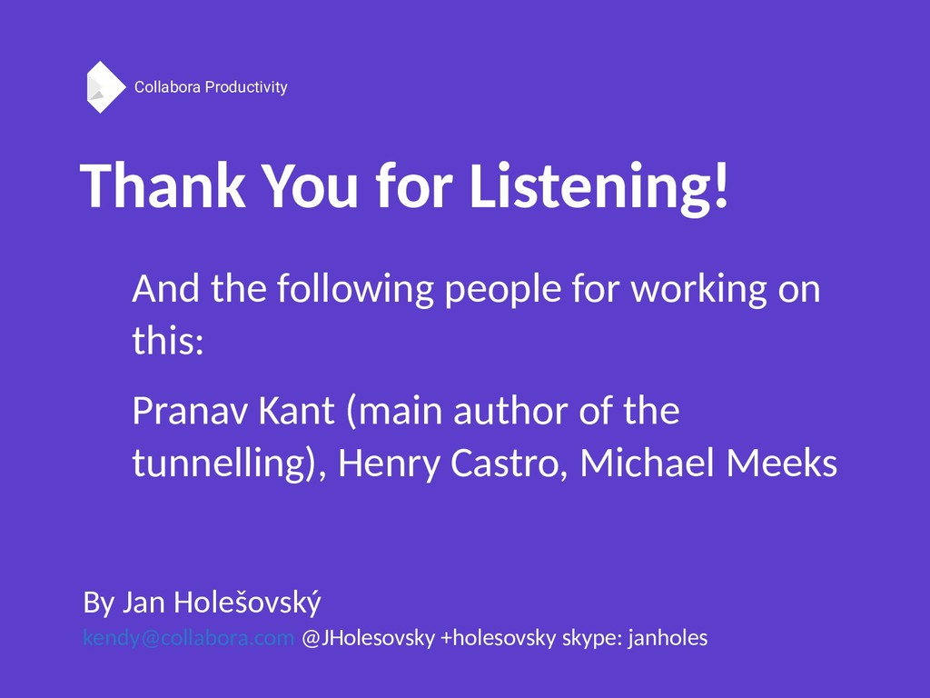 Collabora Productivity Thank You for Listening!...