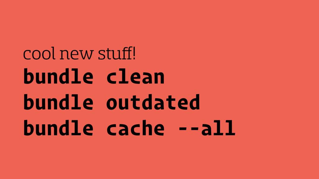 bundle clean bundle outdated bundle cache --all...