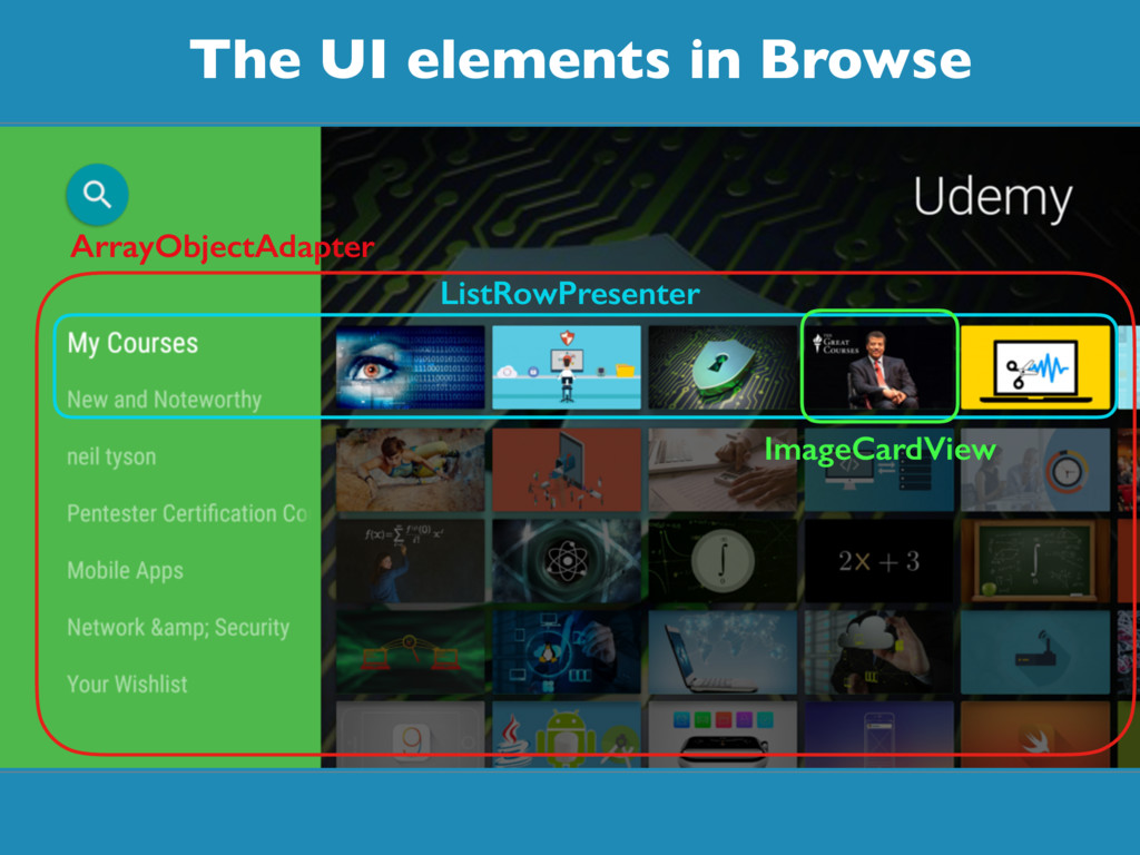 The UI elements in Browse ArrayObjectAdapter Li...