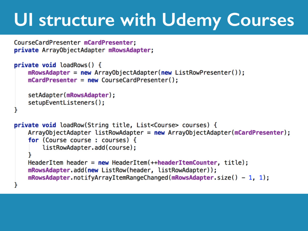 UI structure with Udemy Courses