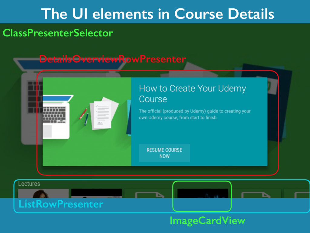 The UI elements in Course Details DetailsOvervi...