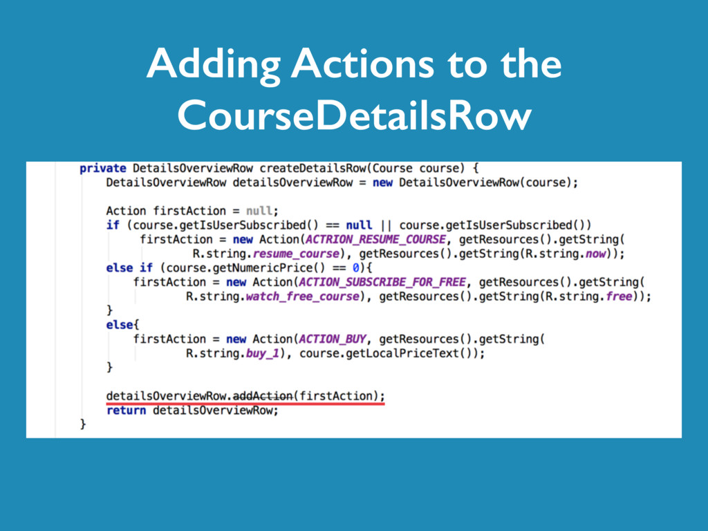 Adding Actions to the CourseDetailsRow