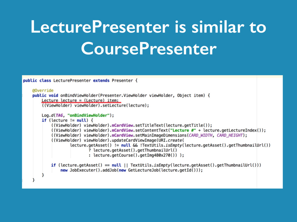 LecturePresenter is similar to CoursePresenter