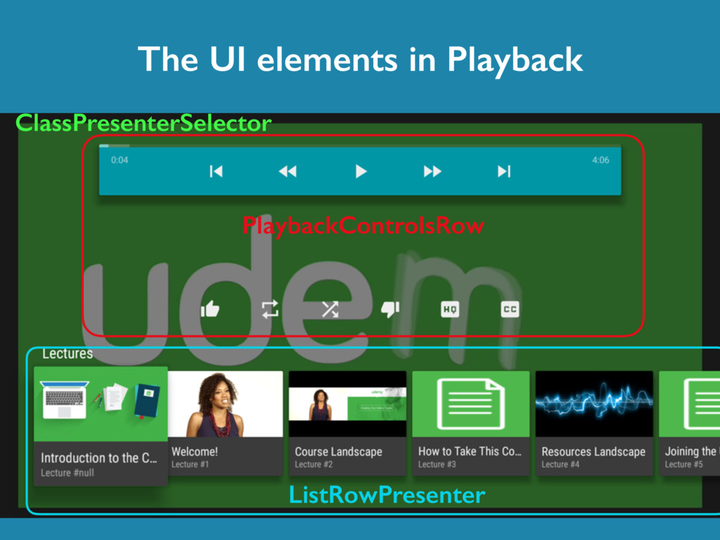 The UI elements in Playback ClassPresenterSelec...