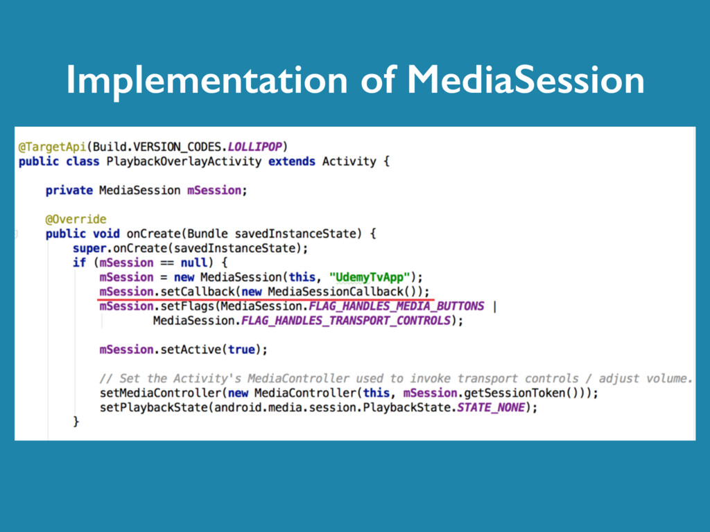 Implementation of MediaSession