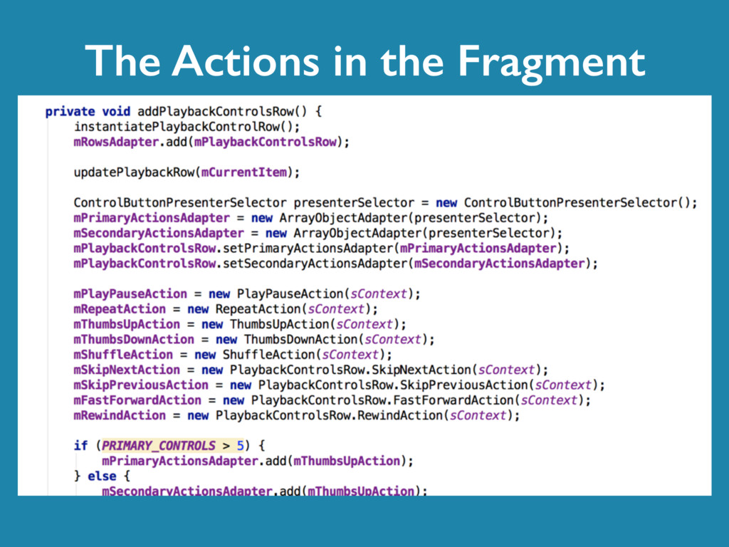 The Actions in the Fragment