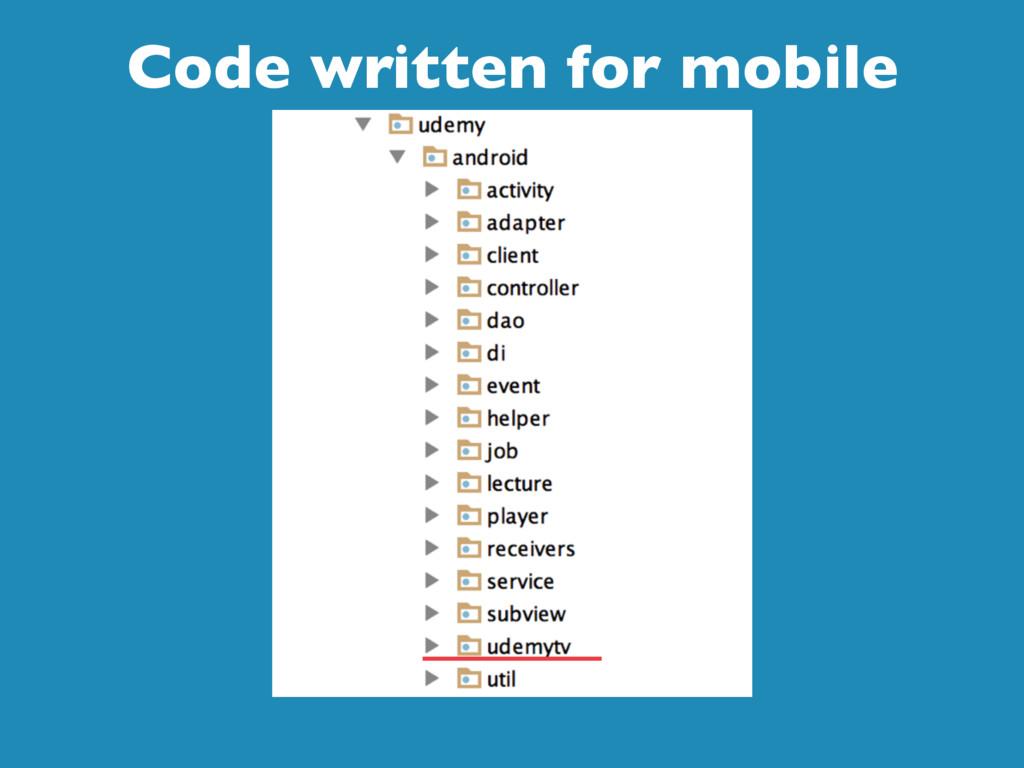 Code written for mobile