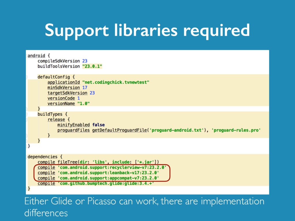 Support libraries required Either Glide or Pica...
