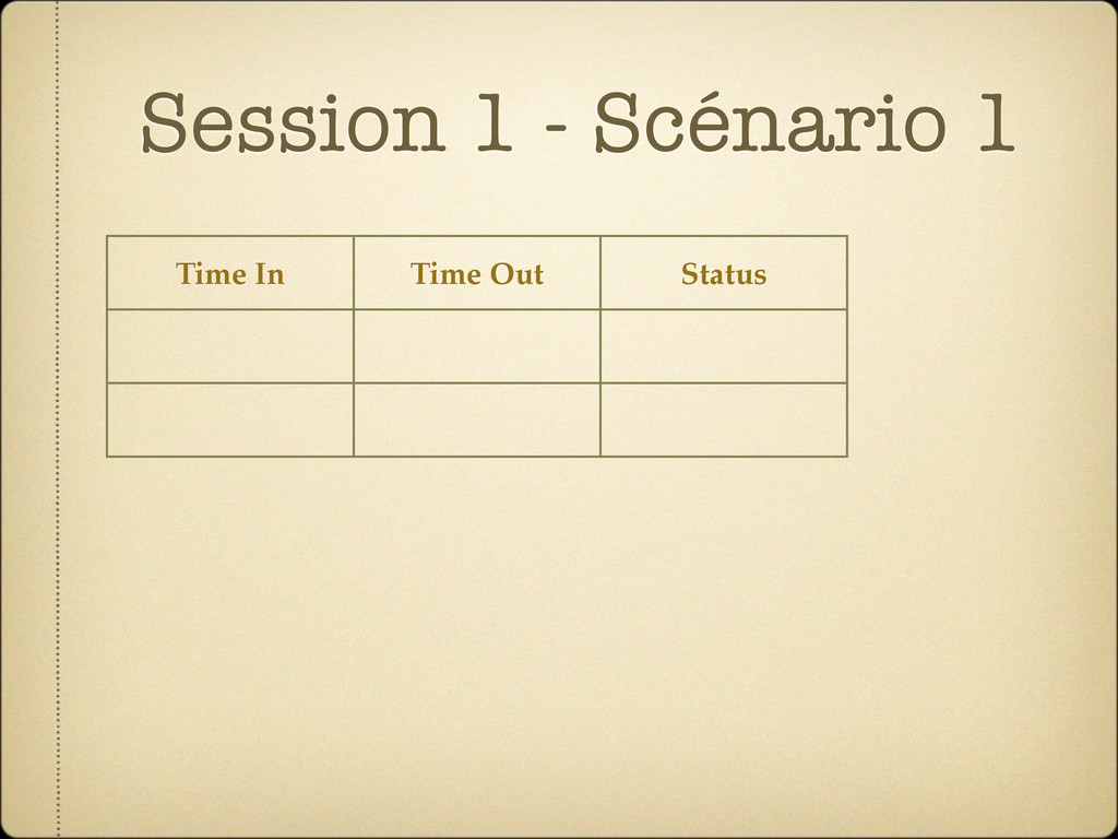 Session 1 - Scénario 1 Time In Time Out Status