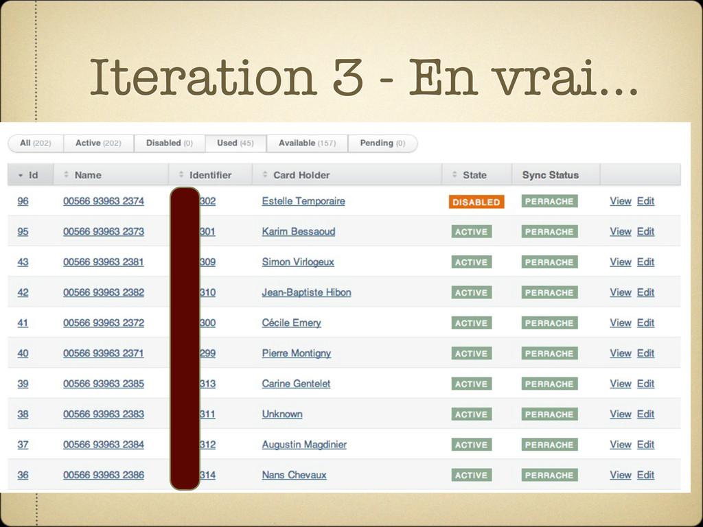 Iteration 3 - En vrai...