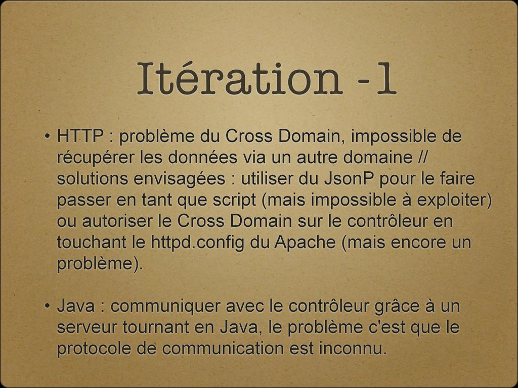 Itération -1 • HTTP : problème du Cross Domain,...