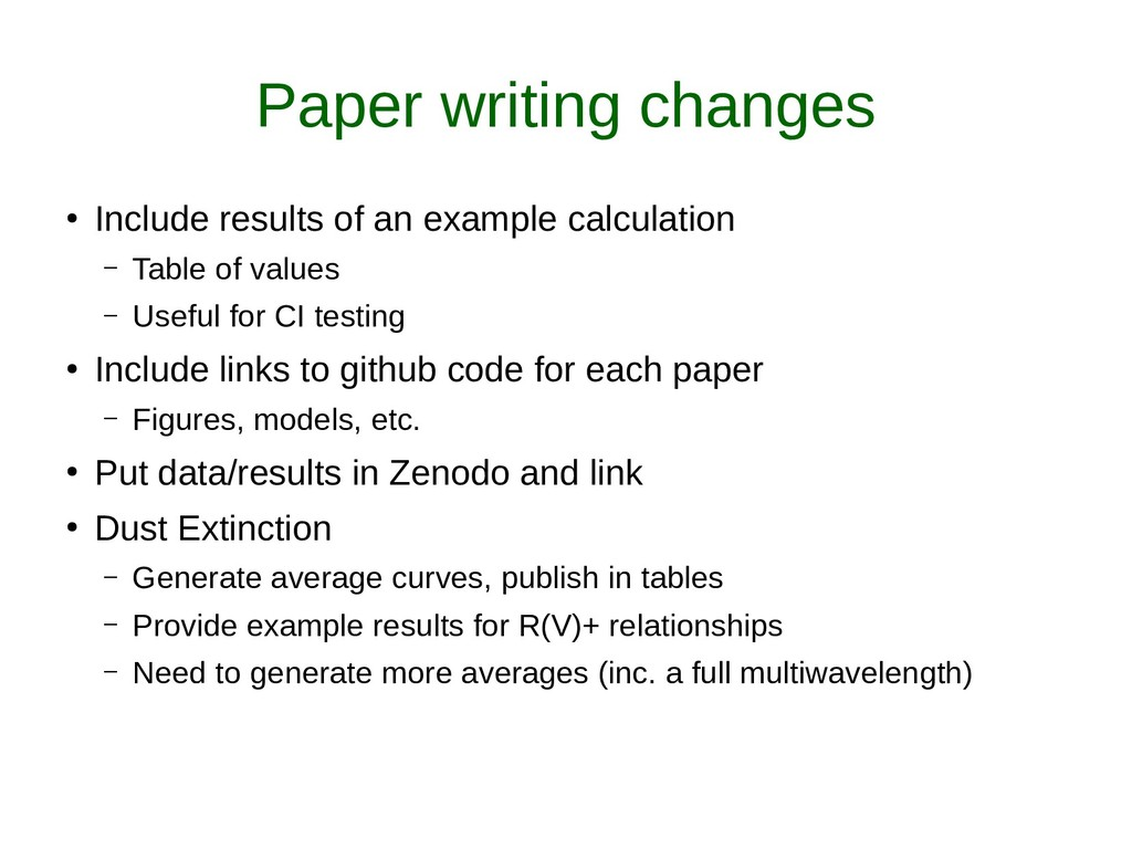 Paper writing changes ● Include results of an e...