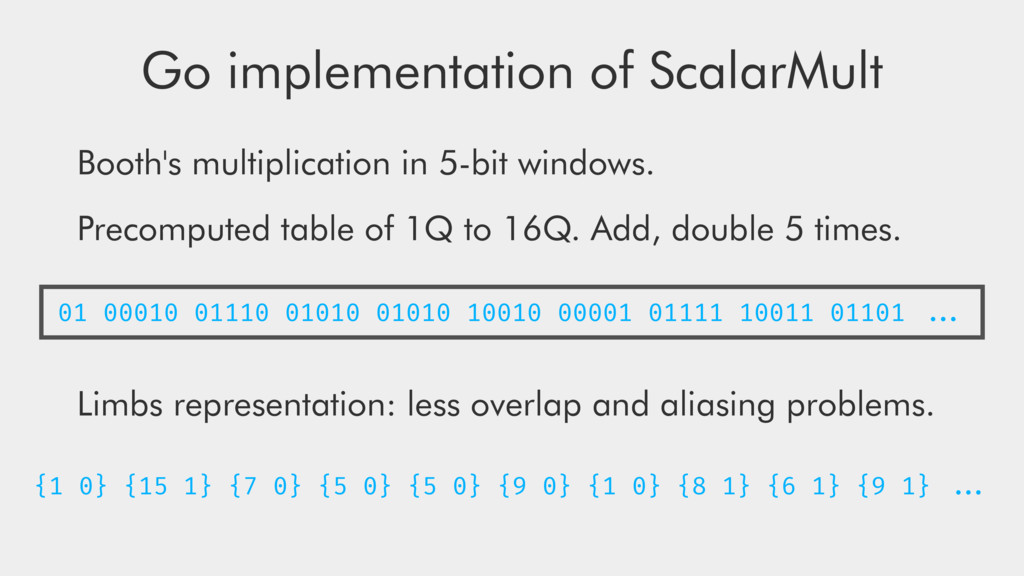 Go implementation of ScalarMult Booth's multipl...