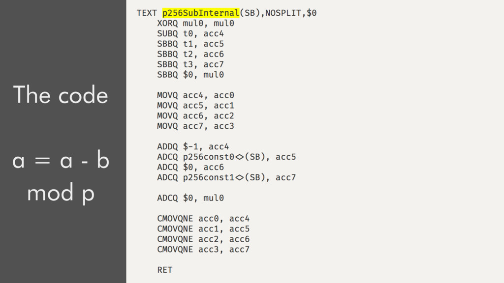 The code a = a - b mod p a = a - b x = a a = a ...