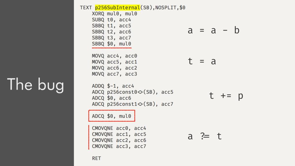a = a - b x = a a = a + p The bug a = a - b t =...