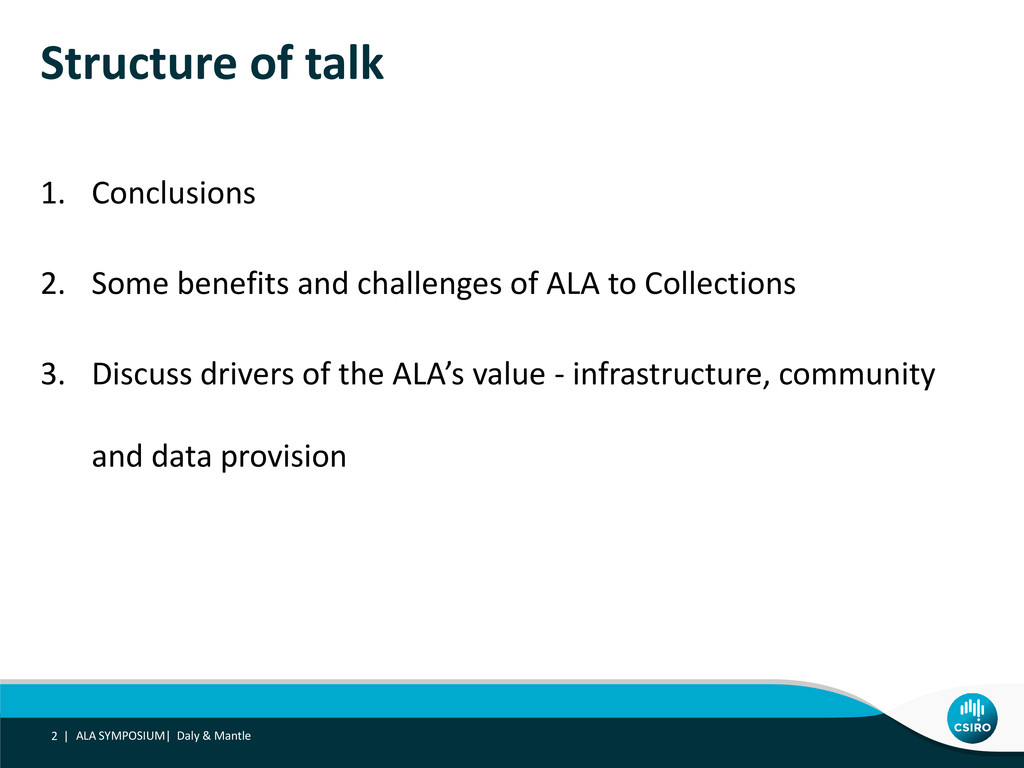 Structure of talk 1. Conclusions 2. Some benefi...