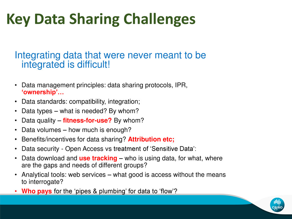 Key Data Sharing Challenges Integrating data th...