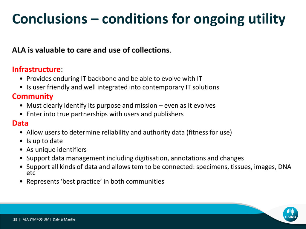Conclusions – conditions for ongoing utility AL...