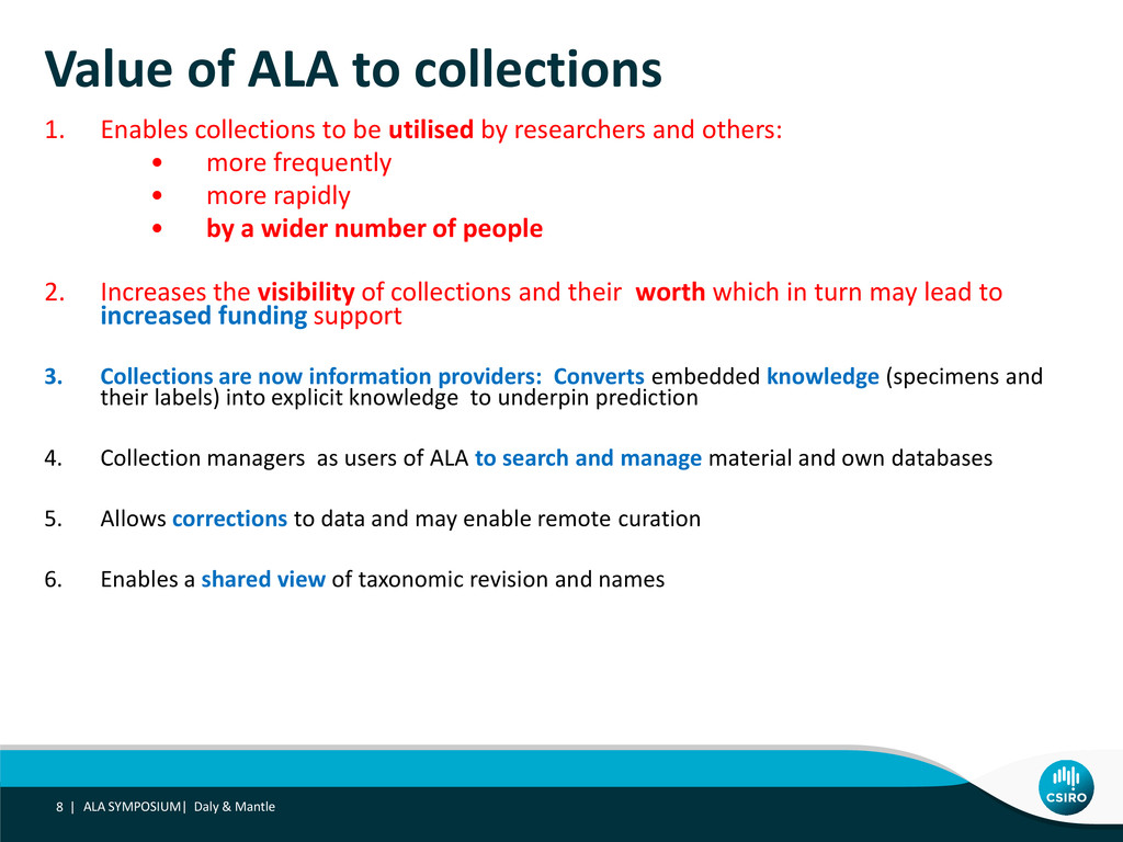 Value of ALA to collections 1. Enables collecti...