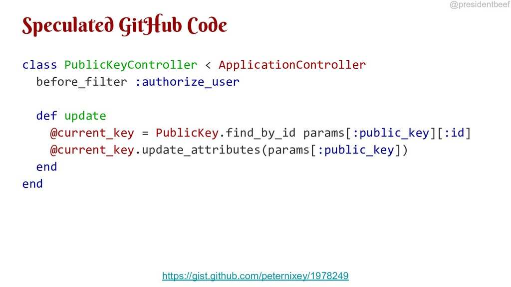 @presidentbeef Speculated GitHub Code class Pub...