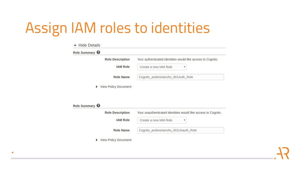 Assign IAM roles to identities