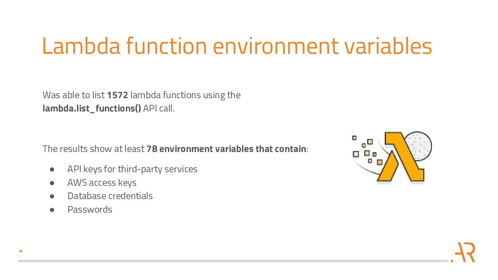 Lambda function environment variables Was able ...