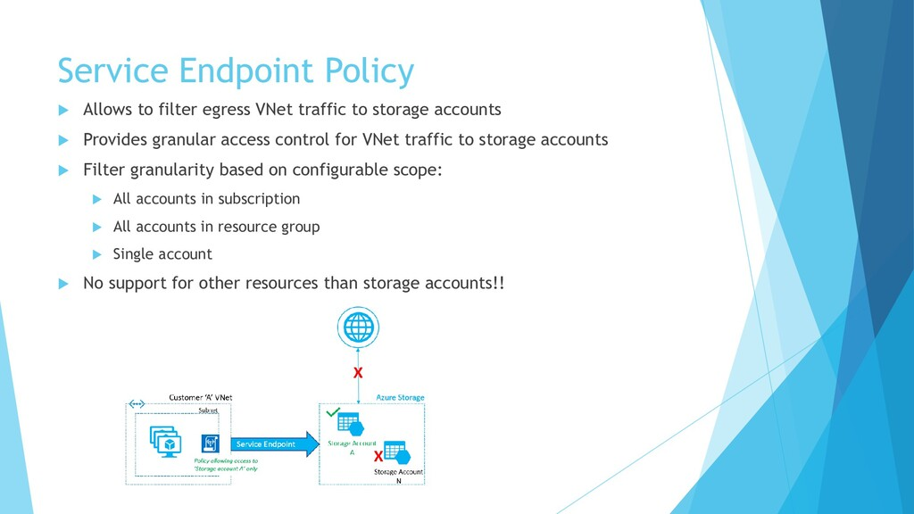 Service Endpoint Policy  Allows to filter egre...