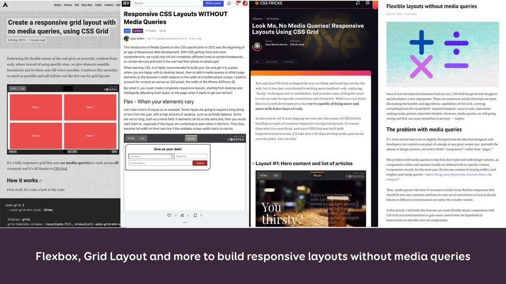 Flexbox, Grid Layout and more to build responsi...