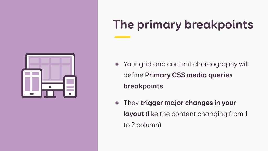 The primary breakpoints ๏ Your grid and content...