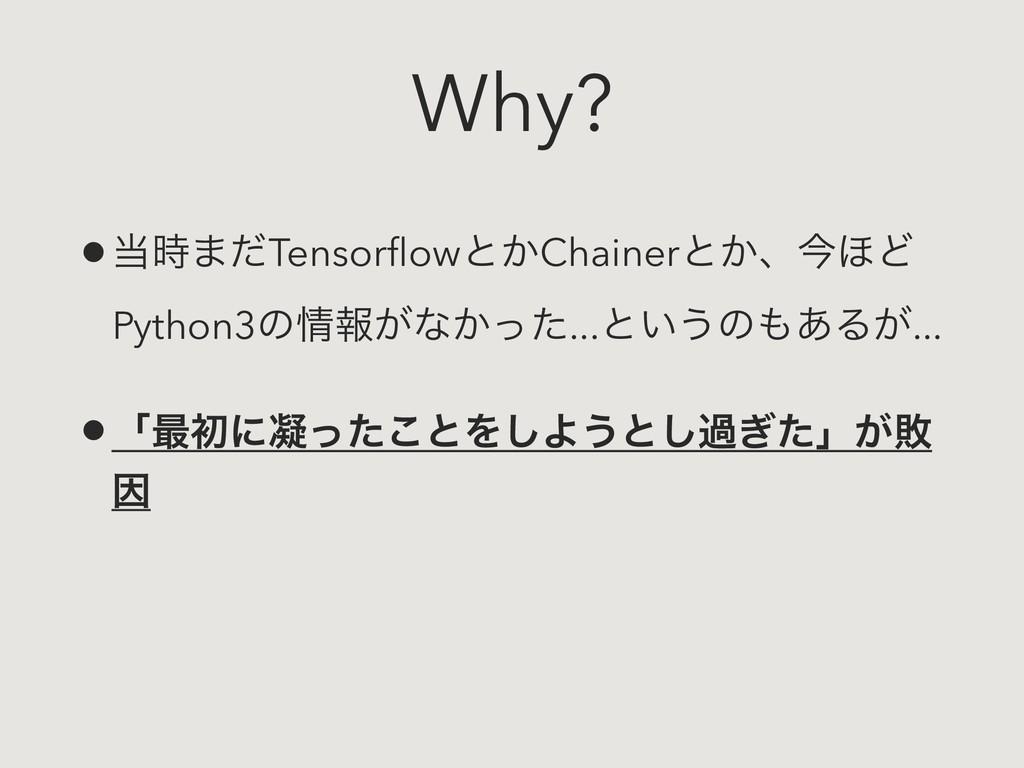 Why? •·ͩTensorflowͱ͔Chainerͱ͔ɺࠓ΄Ͳ Python3ͷใ͕ͳ...