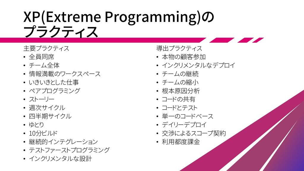 XP(Extreme Programming)の プラクティス 主要プラクティス • 全員同席...