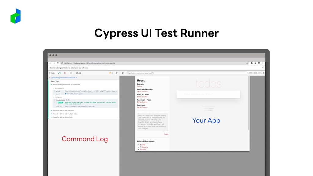 Command Log Your App Cypress UI Test Runner
