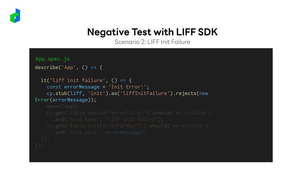 App.spec.js describe('App', () => { it('liff in...
