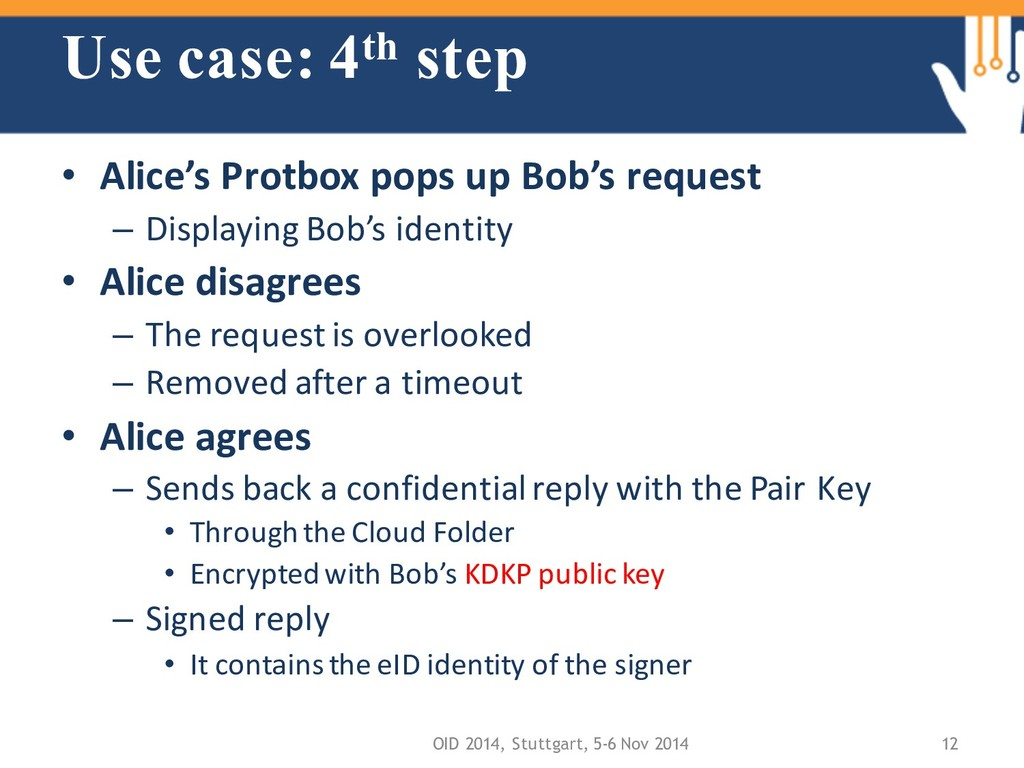 Use case: 4th step • Alice's Protbox pops up Bo...