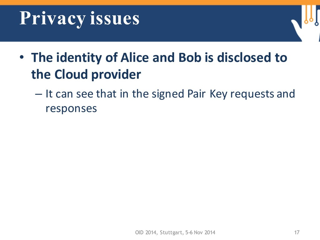 Privacy issues • The identity of Alice and Bob ...
