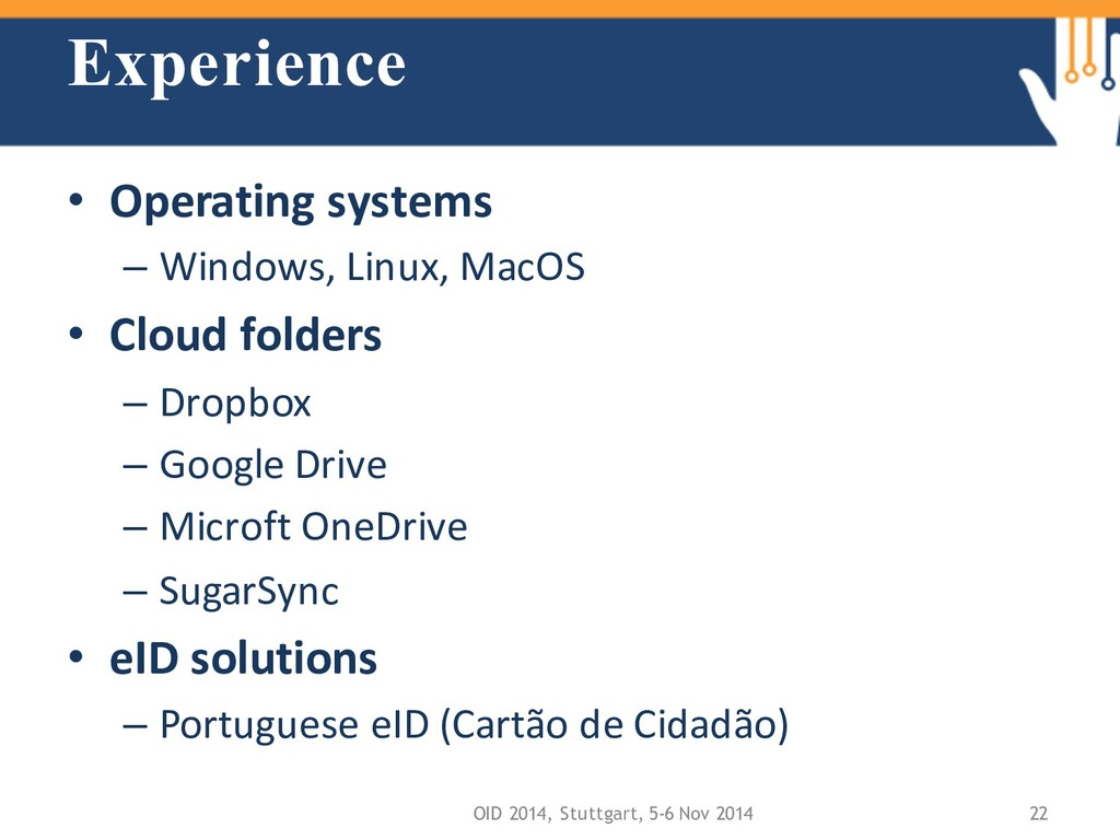 Experience • Operating systems – Windows, Linux...