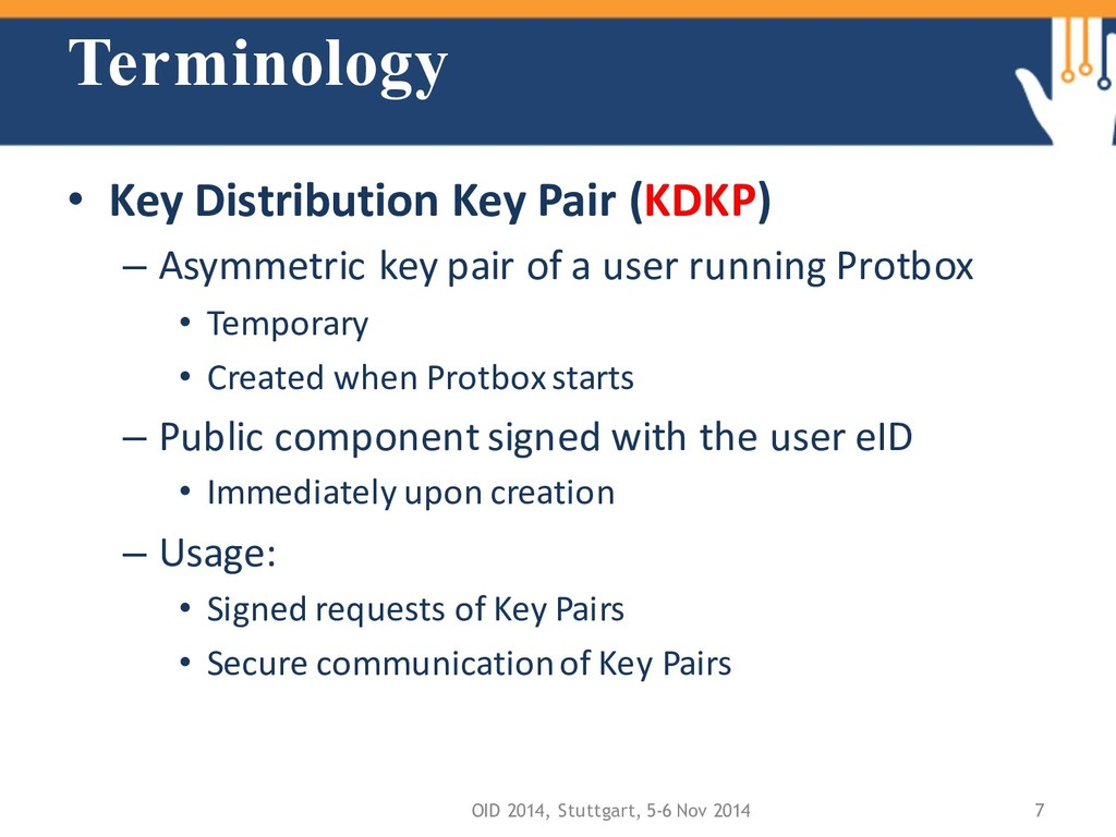 Terminology • Key Distribution Key Pair (KDKP) ...
