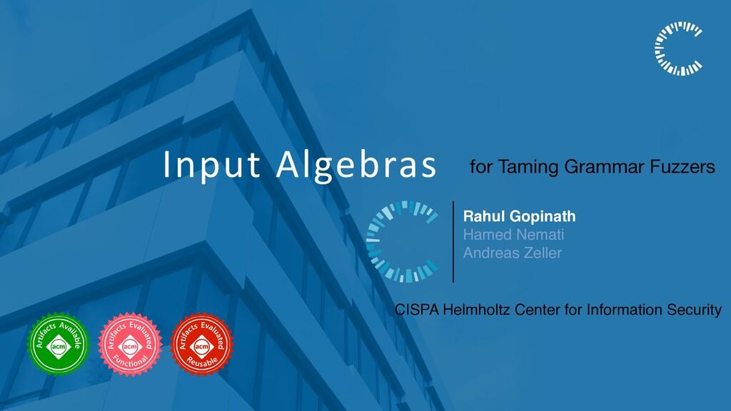 Input Algebras Rahul Gopinath Hamed Nemati Andr...