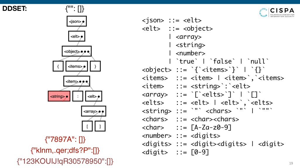 19 <json> ::= <elt> <elt> ::= <object> | <arr...