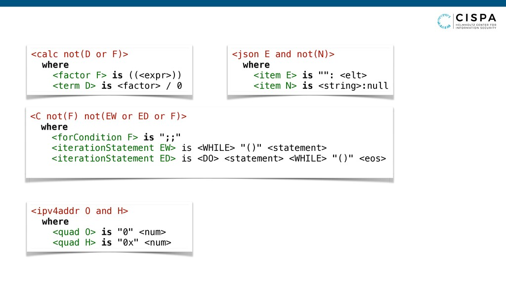 """<json E and not(N)> where <item E> is """""""": <elt>..."""