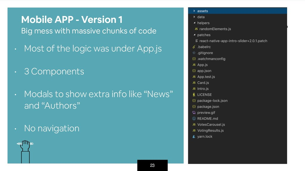 23 • Most of the logic was under App.js • 3 Co...