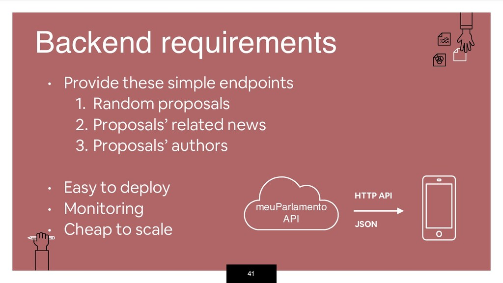 41 Backend requirements • Provide these simple ...