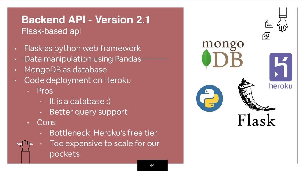 44 Backend API - Version 2.1 Flask-based api •...