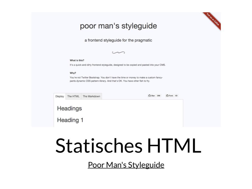Statisches HTML Poor Man's Styleguide