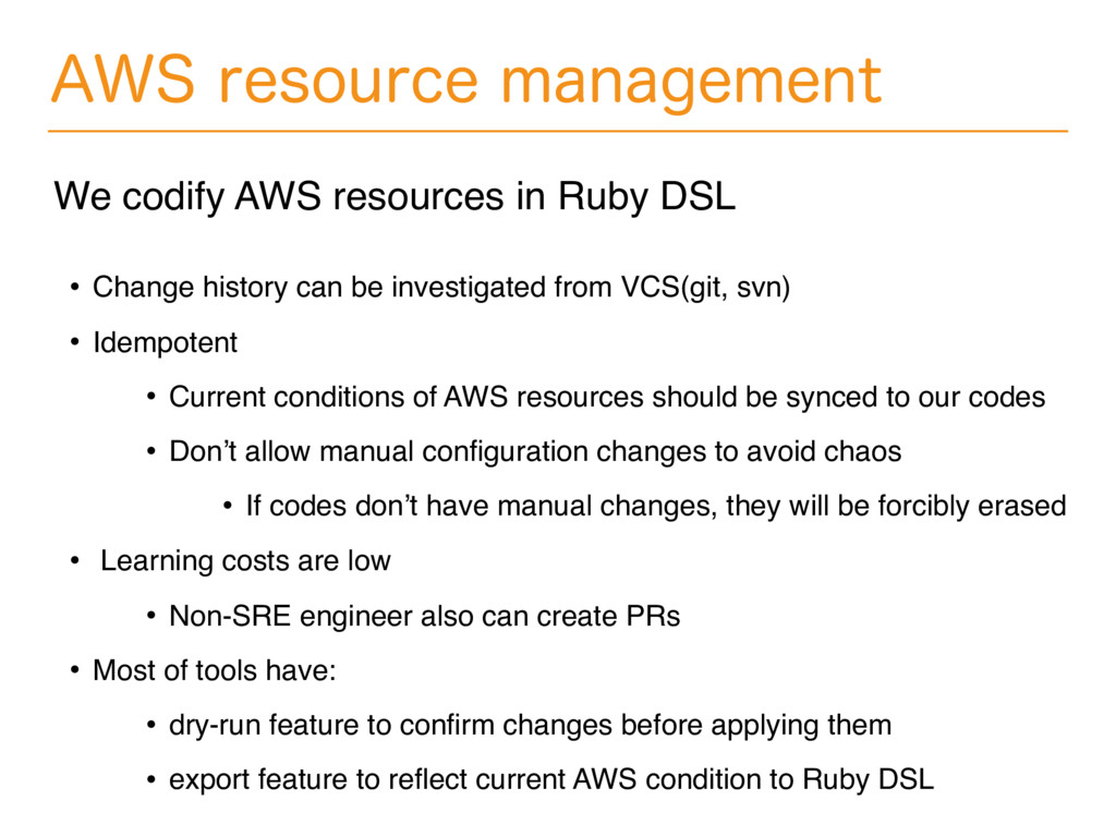 """84SFTPVSDFNBOBHFNFOU We codify AWS resources..."