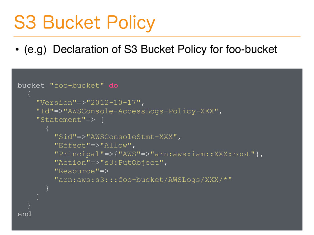 "bucket ""foo-bucket"" do { ""Version""=>""2012-10-17..."